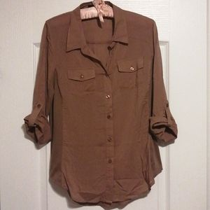 Mine button up blouse, chocolate brown
